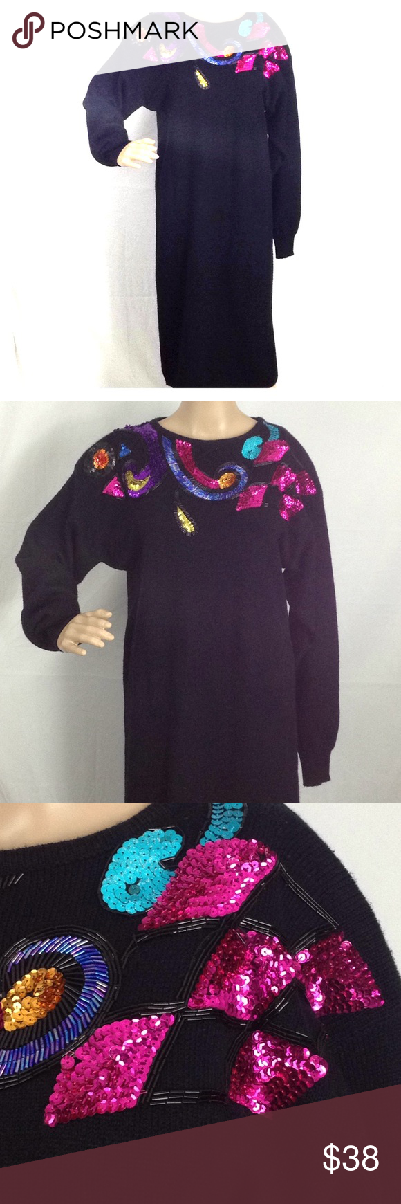 129d6abcbfa Bling Sweater Dress Sequence   Beaded sweater dress from Designer Darian  Dress is in great worn condition. This does not alter the quality or appeal  of ...