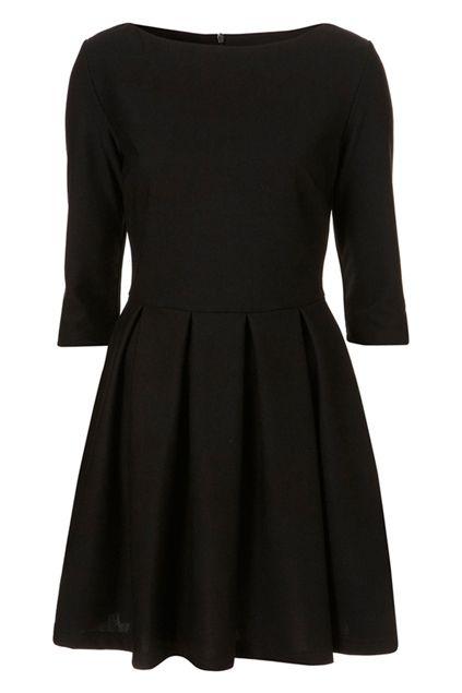 A Line Pleated Slim Black Autum Dress Orchestra Dress Dresses