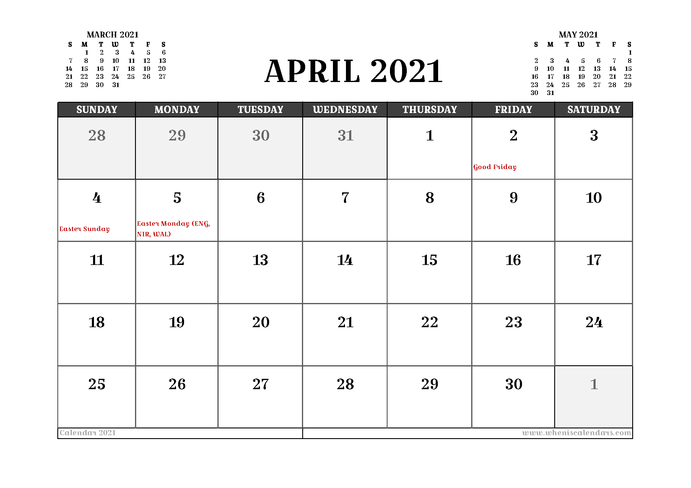Free Printable April 2021 Calendar Uk In 2020 Calendar Uk 2021 Calendar Calendar Australia