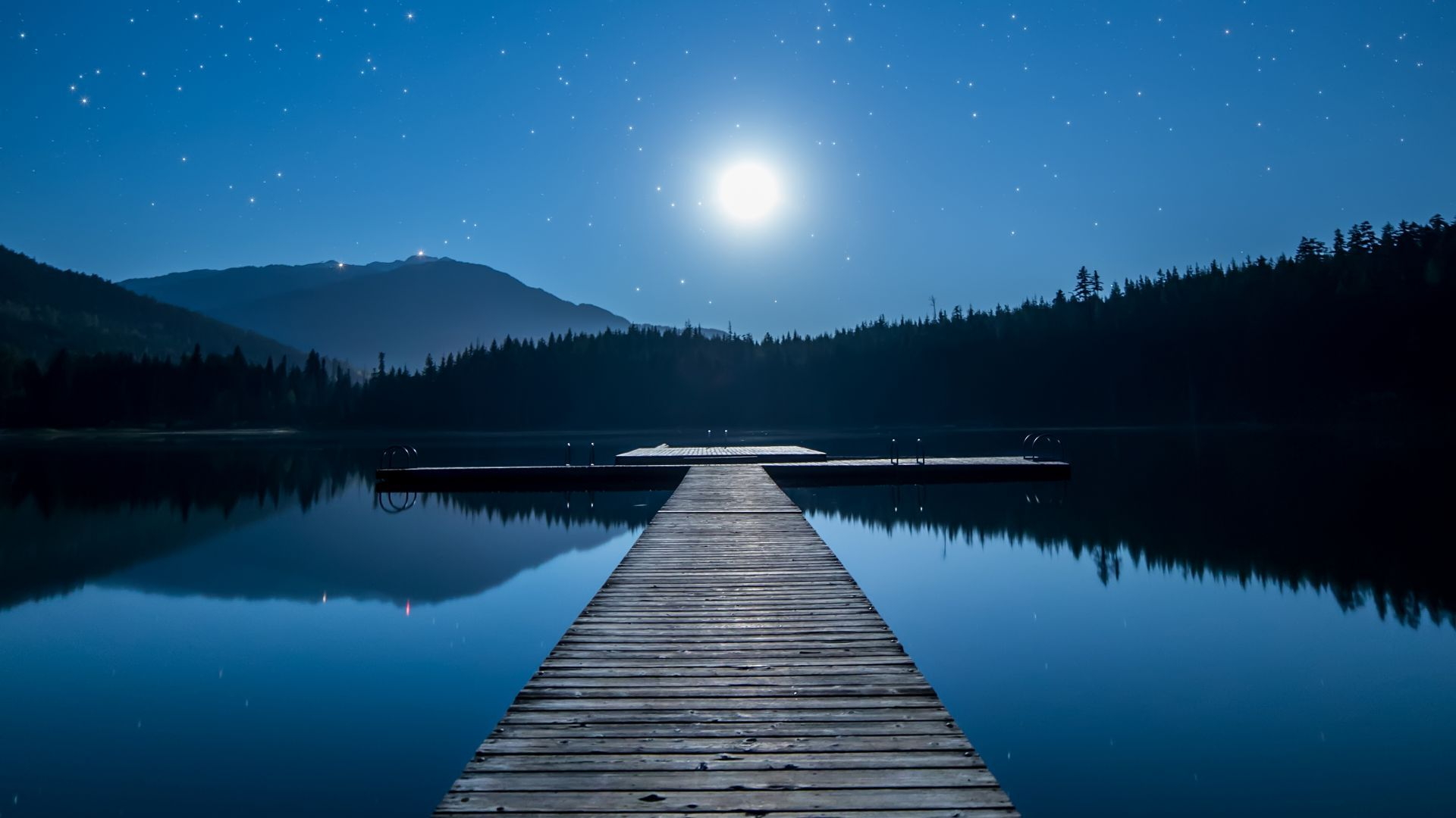 Download wallpapers of Lake, Dock, Moon, Mountains