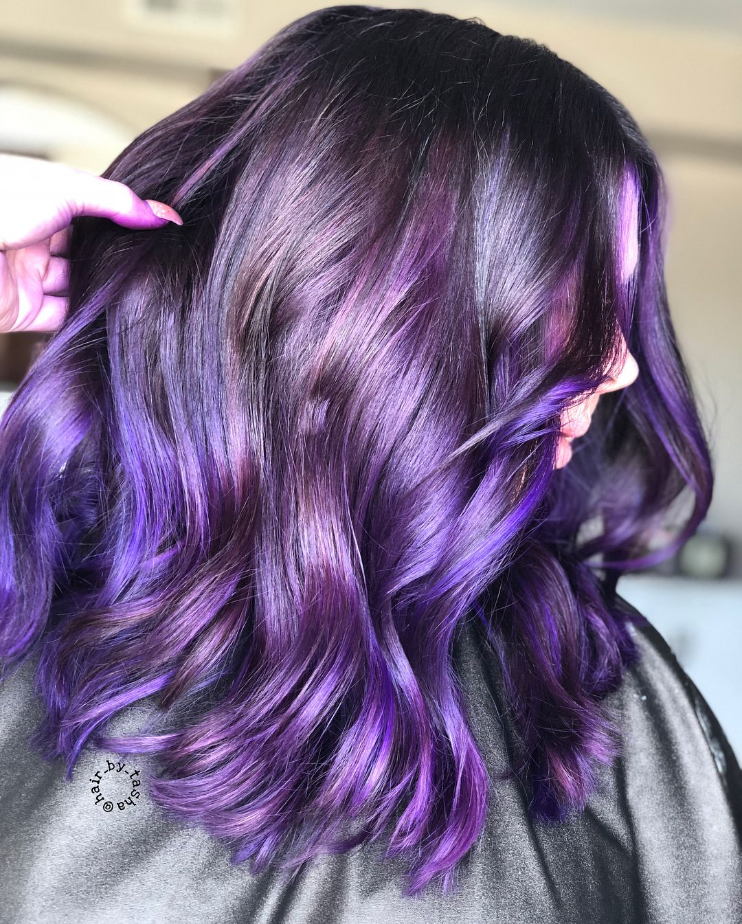purple hair, unique hair color ideas, purple balayage, hair color