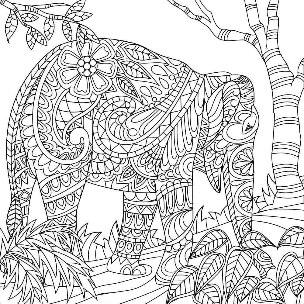 elephant zendoodle adult coloring printables mandalas animales. Black Bedroom Furniture Sets. Home Design Ideas