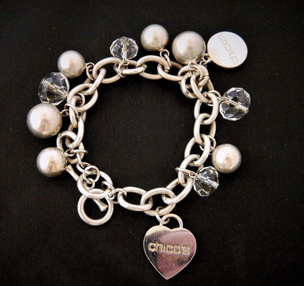 Chicous chunky chain link beaded heart charm statement bracelet