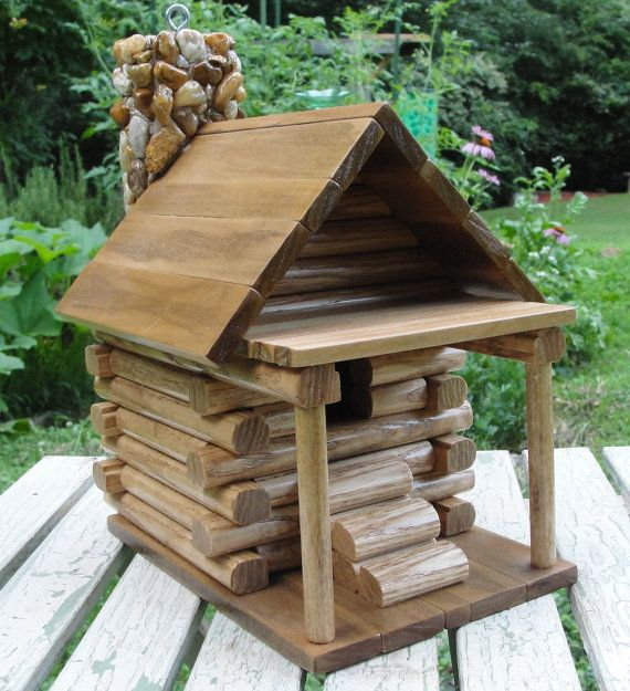 Gift Ideas Real Log Style: Rustic Log Cabin Birdhouse With Front Porch And Stone