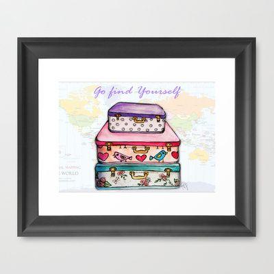 go find yourself Framed Art Print by Yaz Raja - $37.00