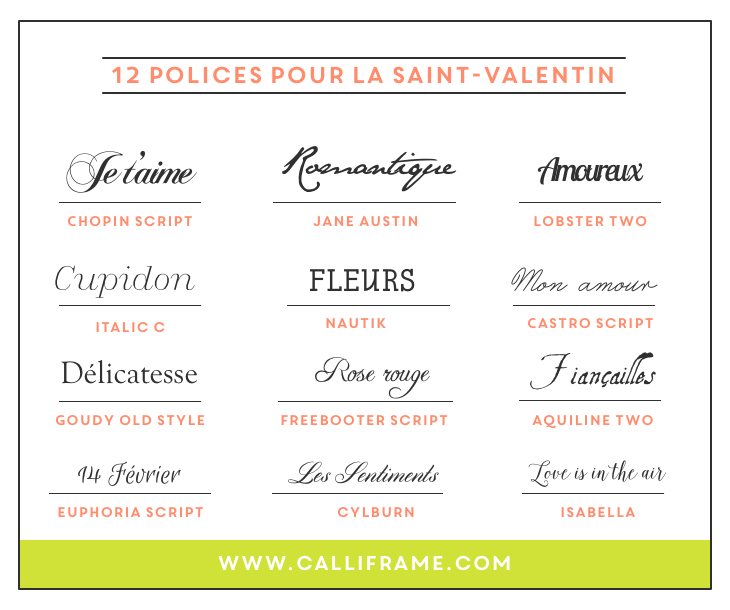 Bekannt 12 polices d'écriture pour la Saint-Valentin | La saint valentin  PP88