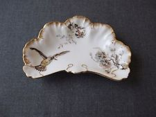 Antiguidade Alan ternier Limoges França Pintado À Mão Pássaro Flores & Placa De Porcelana