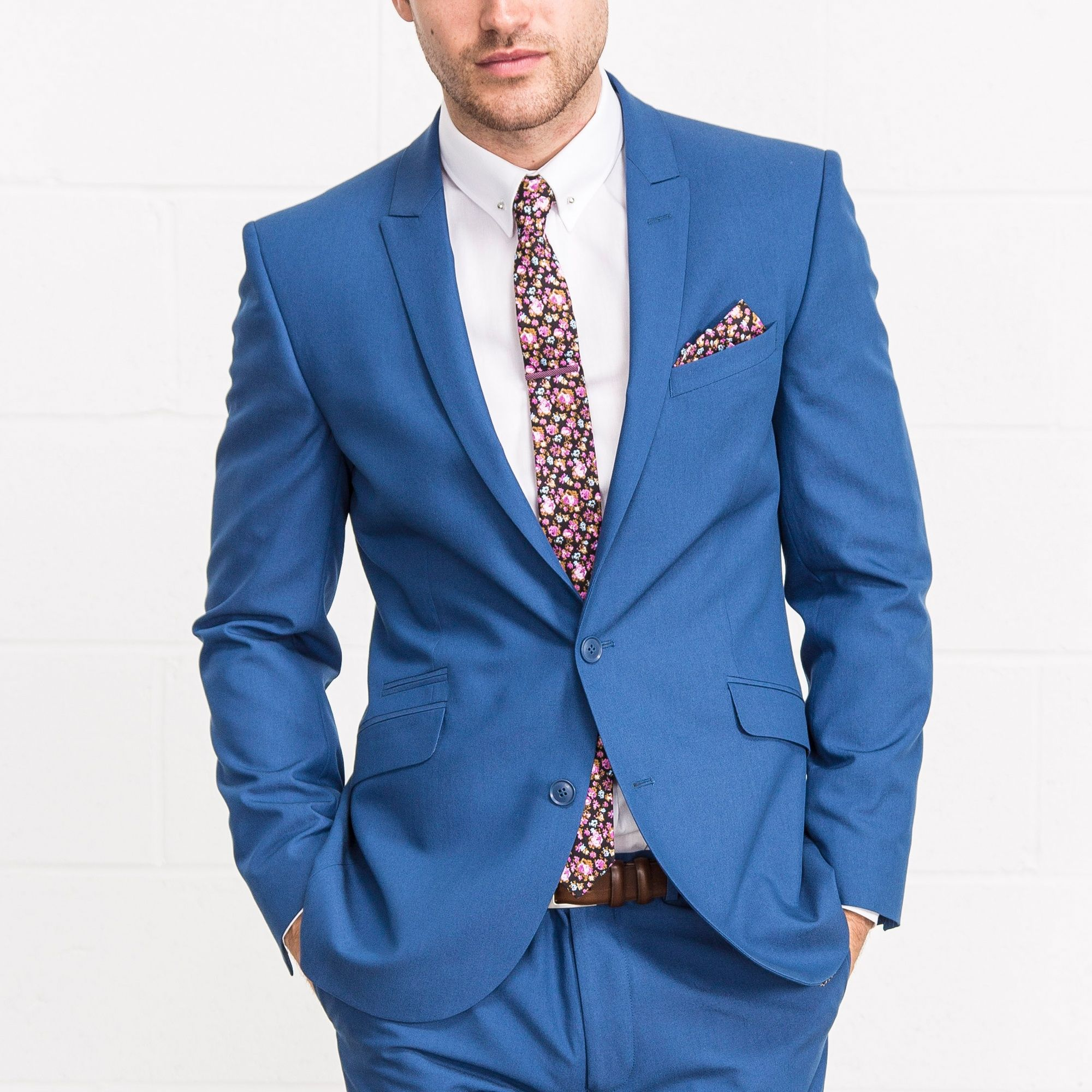 LAMBRETTA Slim Fit Bright Blue Two Piece Suit