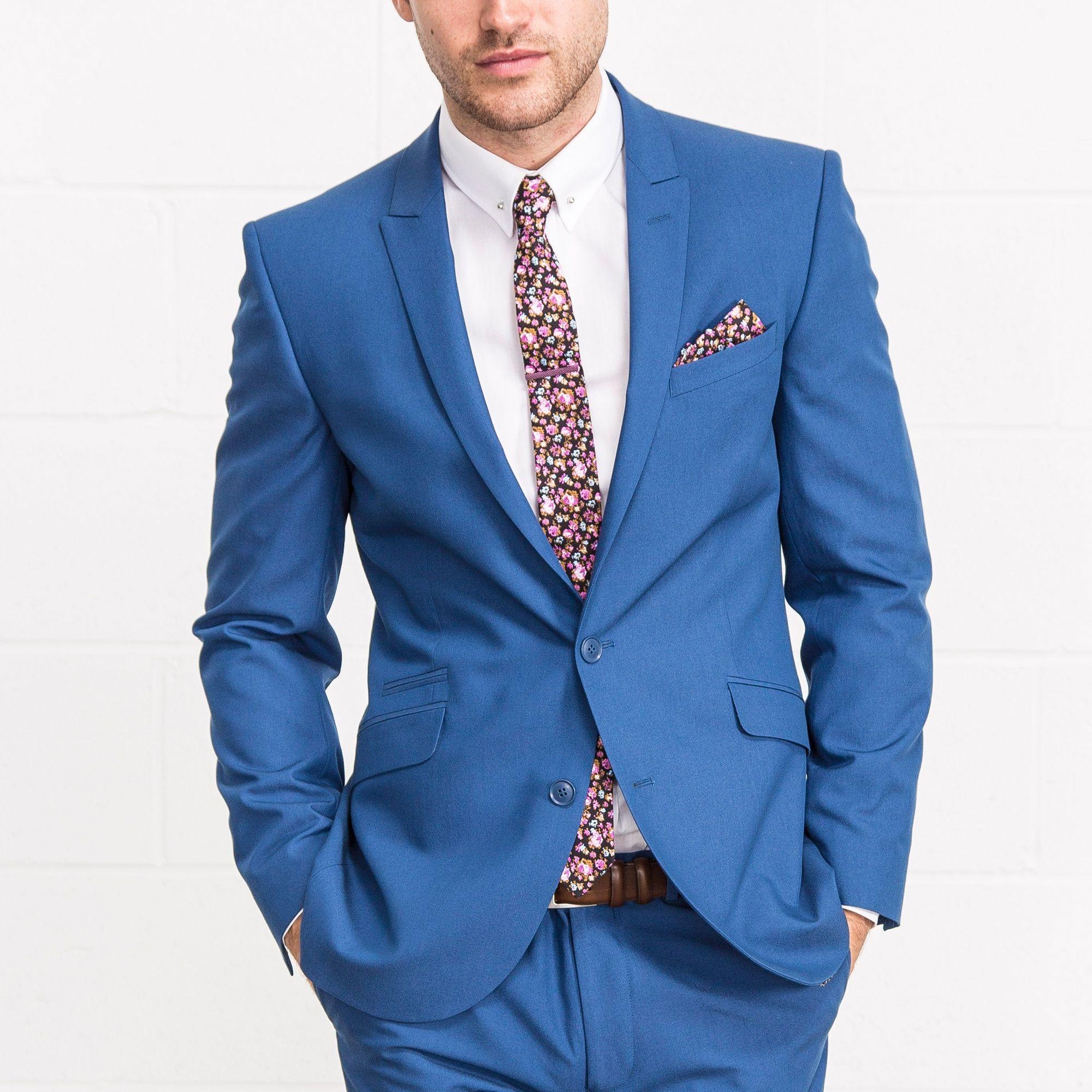 LAMBRETTA Slim Fit Bright Blue Two Piece Suit | Smart Casual ...