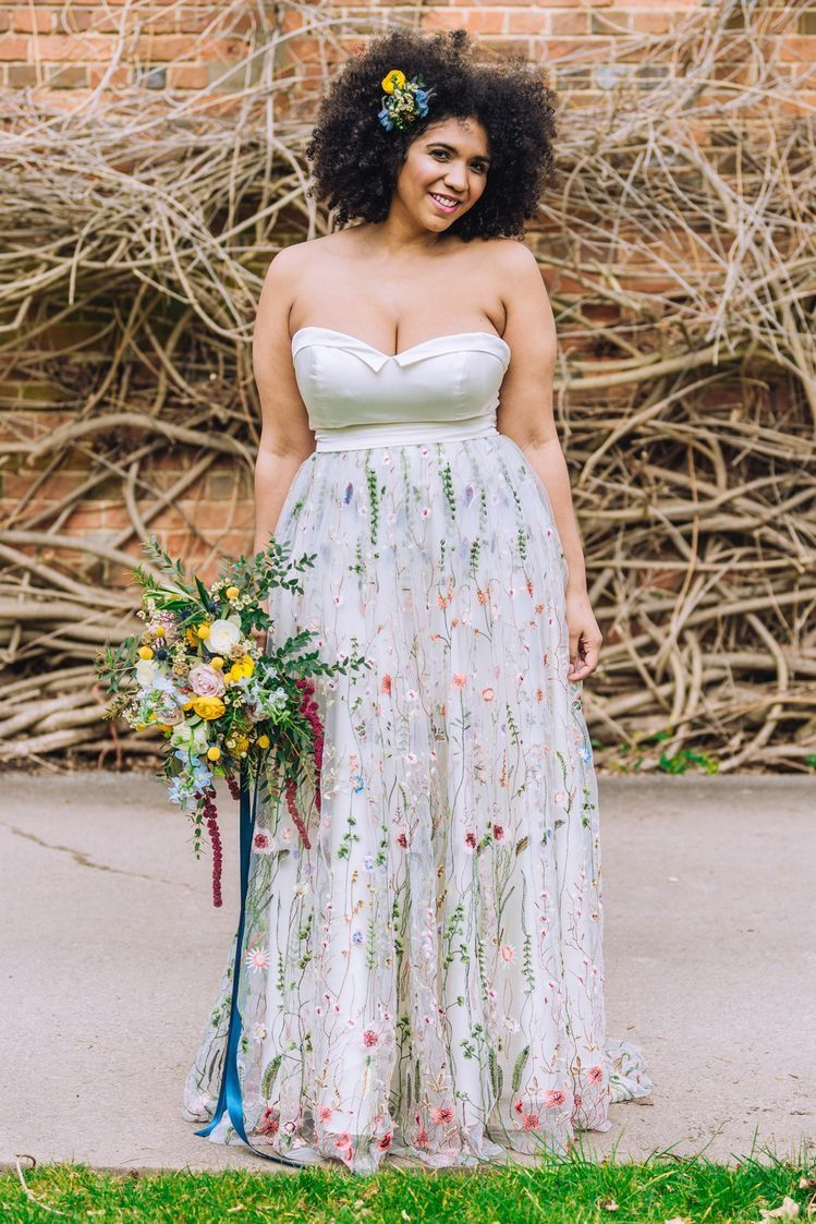 Boho floral wedding dress strapless embroidered floral gown black