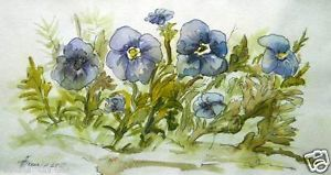 """Original Painting Watercolor by Pronkin Flowers 12x7"""" Painting Watercolor 
