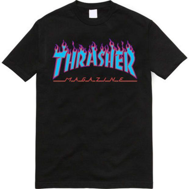 404e44851a1c Thrasher Magazine Light Blue Purple Flame Logo Black T-Shirt ...