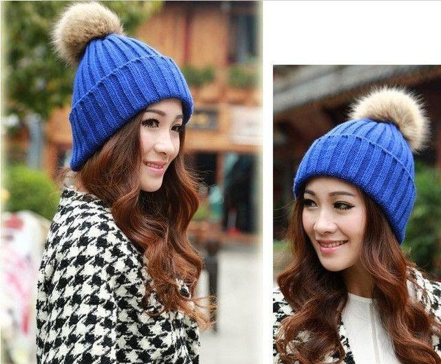 New Brand Women Winter Hats Beanies Knitting Cap Female Fashion Warm Crochet Caps Rabbit Faux Fur Pompons Ear Protect Casual Hat