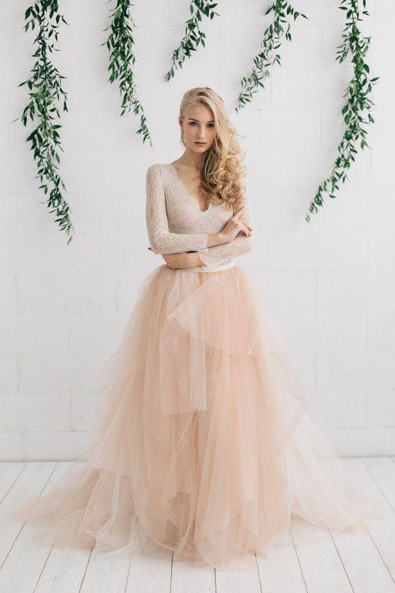 Champagne naakt ivoren bruiloft jurk twee stuk trouwjurk