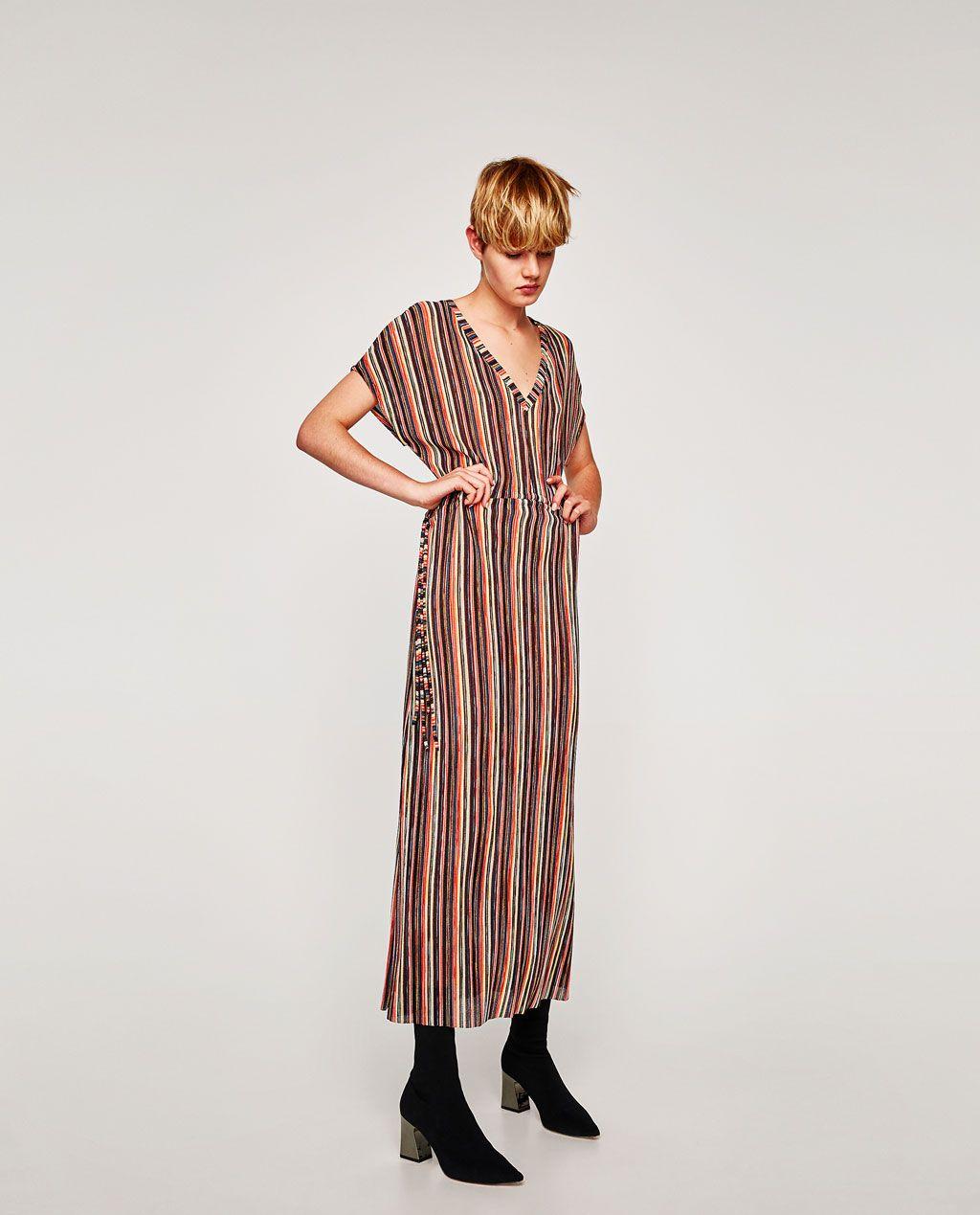Vestido largo zara rayas
