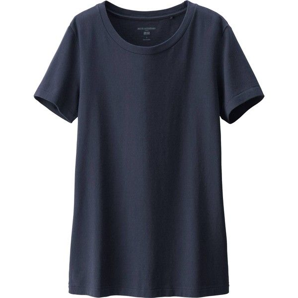 UNIQLO Women Idlf Short Sleeve Cotton T-Shirt ($30) ❤ liked on Polyvore featuring tops, t-shirts, uniqlo, cotton t shirt, short sleeve t shirts, cotton tee and short sleeve tops