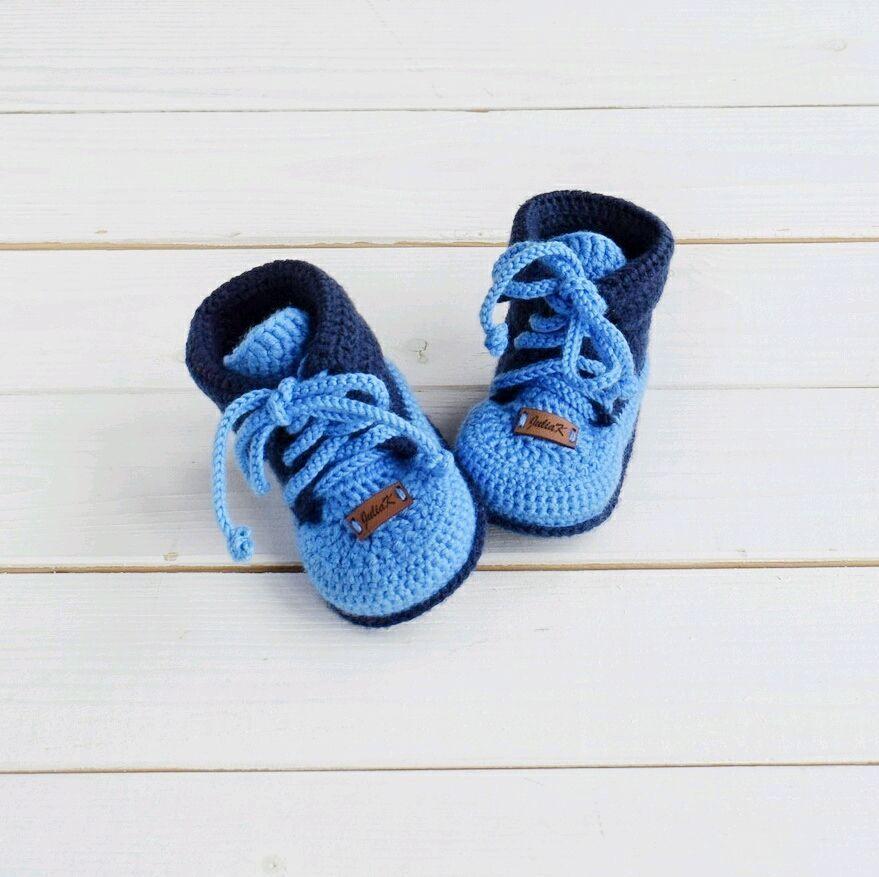 Пинетки ботиночки вязаные для мальчика теплые шерстяные на ...