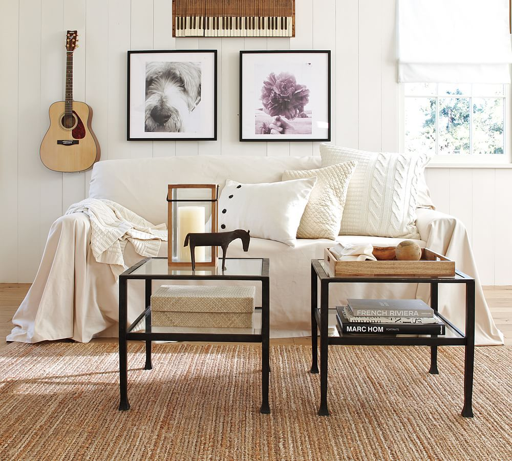 Love this living room set up- and two small tables are a coffee ...