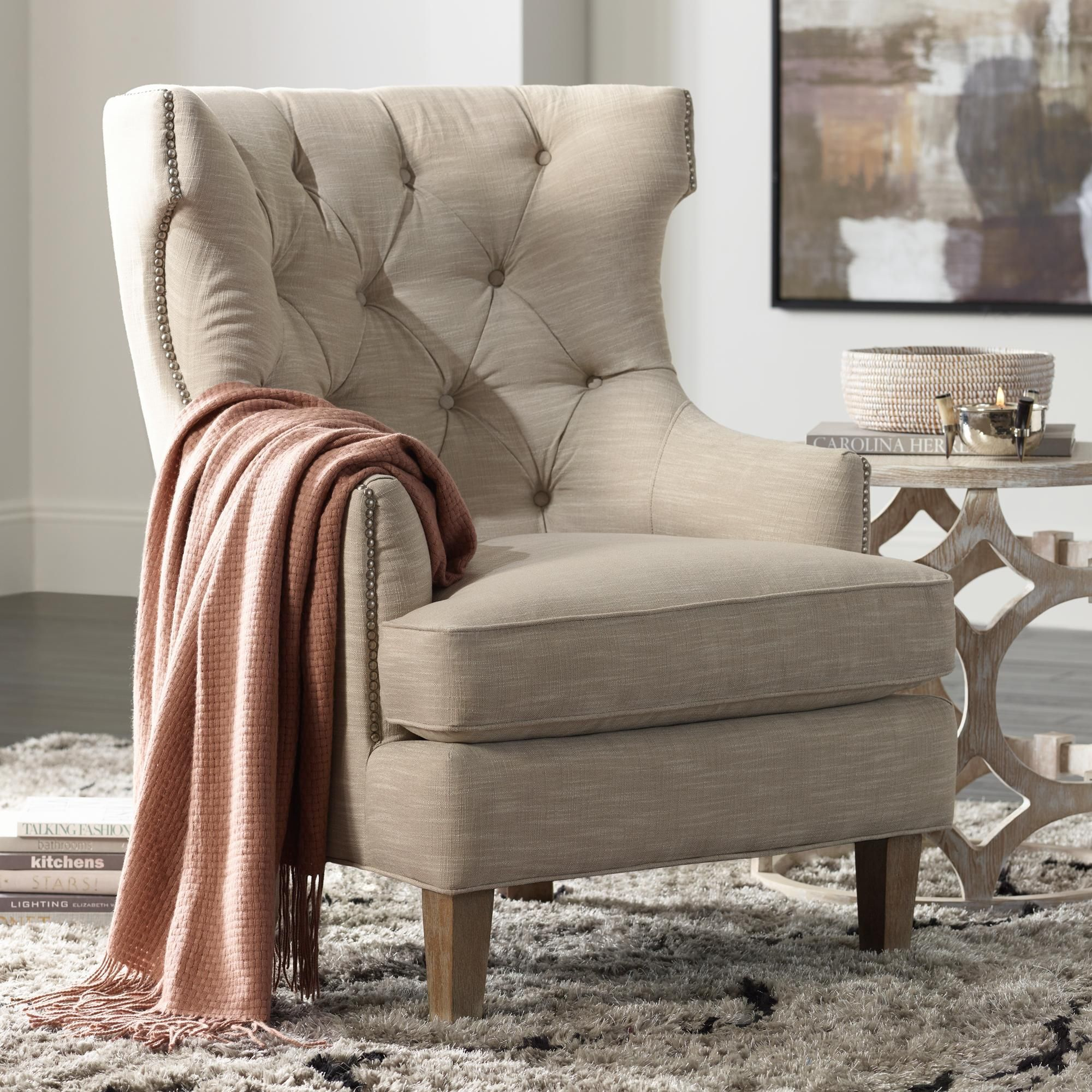 Reese Studio Oatmeal Highback Accent Chair  Style # 8G308 Stunning High Back Living Room Chair 2018