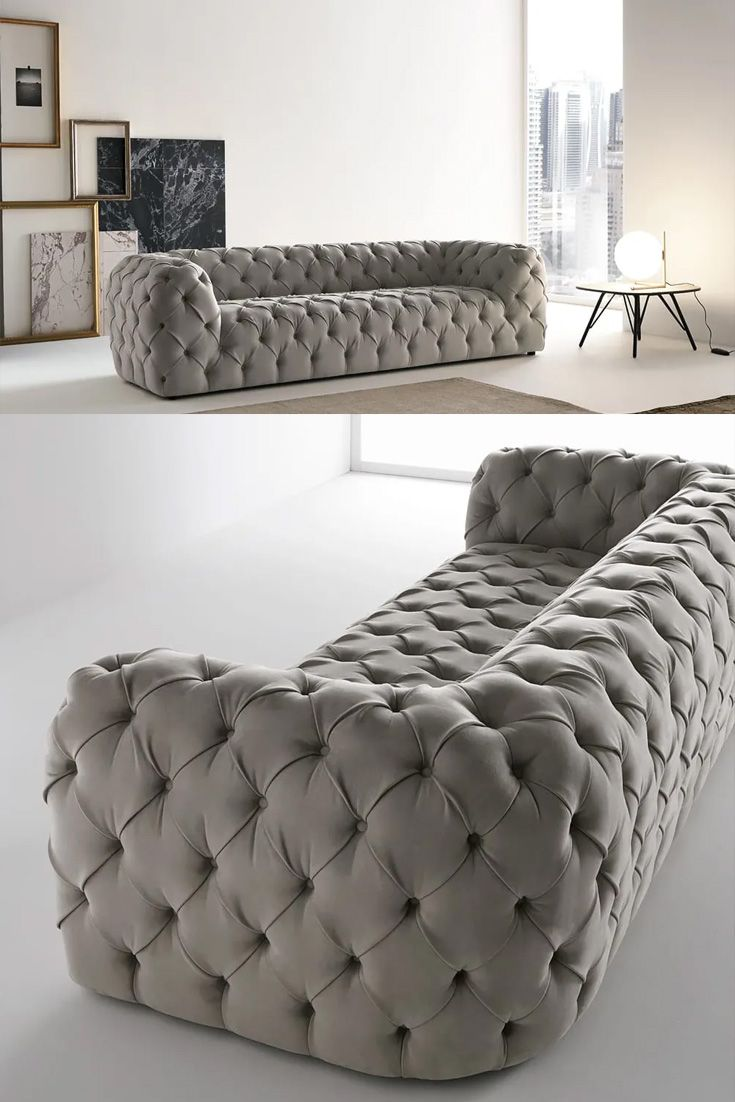 Large Modern Grey Faux Leather Sofa In 2020 Furniture Design