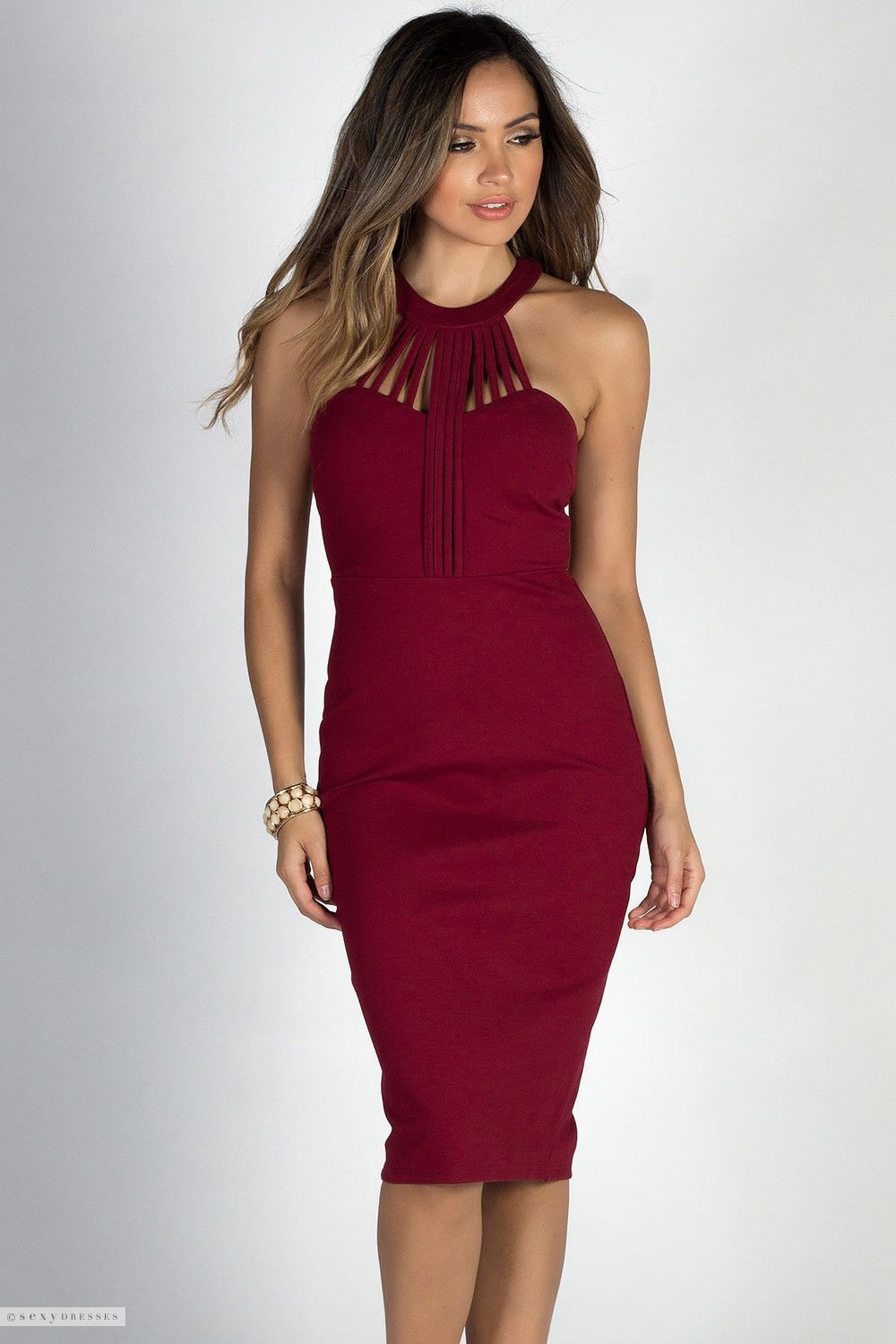 Strappy Caged High Neck Halter Sweetheart Neckline Ruby Red Fitted Midi Dress Dresses Red Fitted Midi Dress Fitted Midi Dress [ 1500 x 1000 Pixel ]