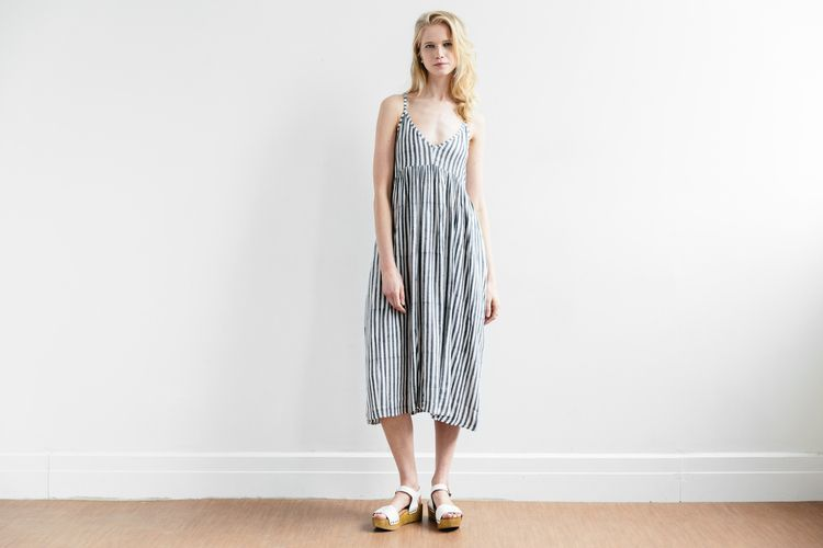bf60264648d2 Flutter Midi Dress in Charcoal Stripe by Curation by Emerson Fry {great for  weekend wear!}