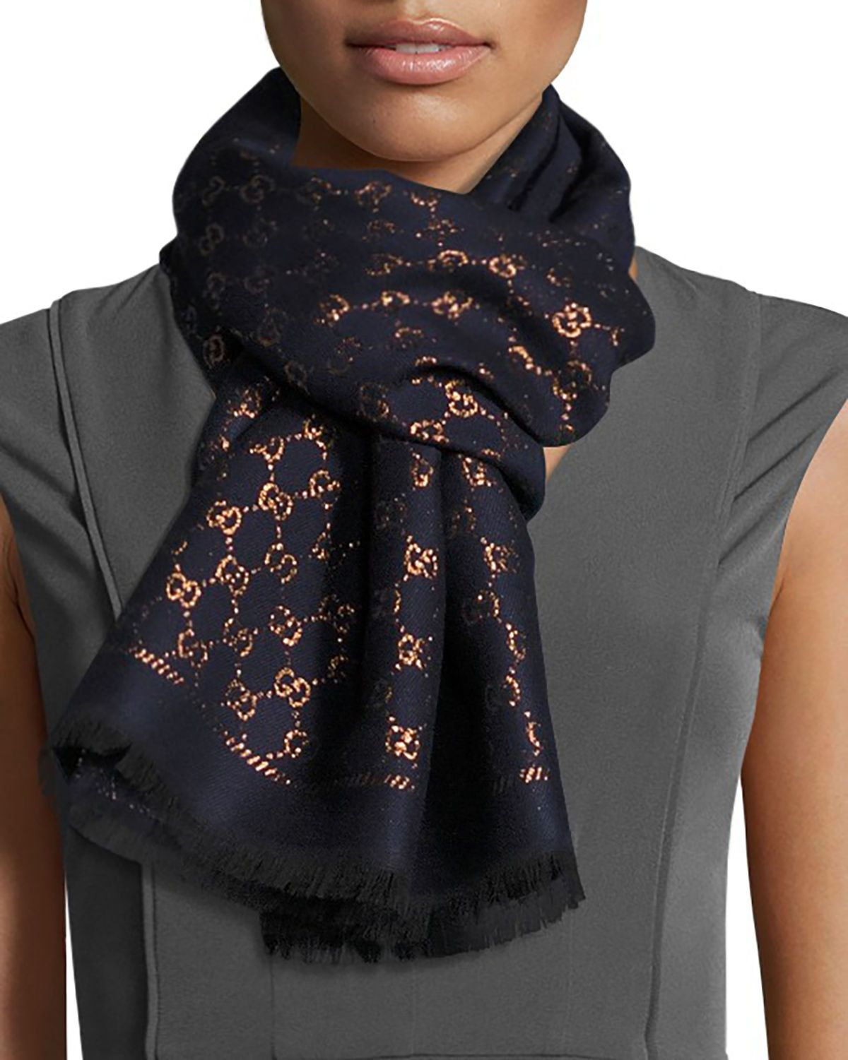 013955eb Stenix GG Jacquard Scarf in 2019   What a Girl Wants   Gucci scarf ...