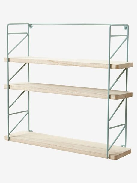 Metal Wood 3 Level Shelving System Green Pink Wood 2