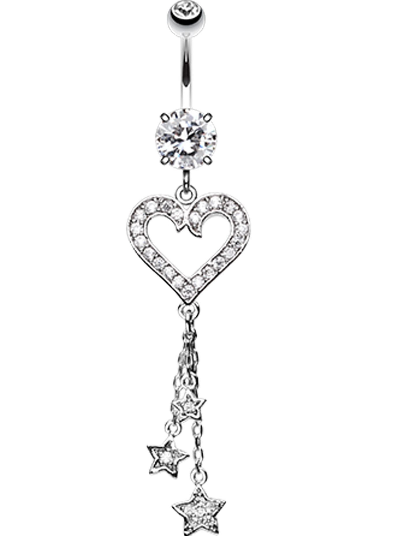 Piercing on belly  Heart Star Sparkles Belly Button Ring  piercings  Pinterest