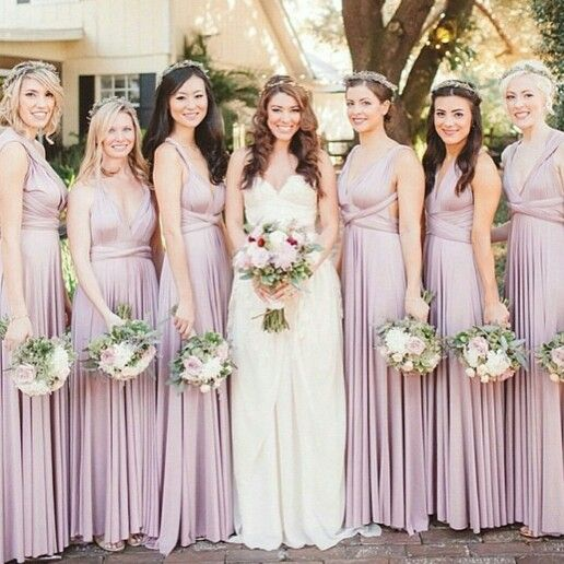 Pretty color of bridesmaids dresses
