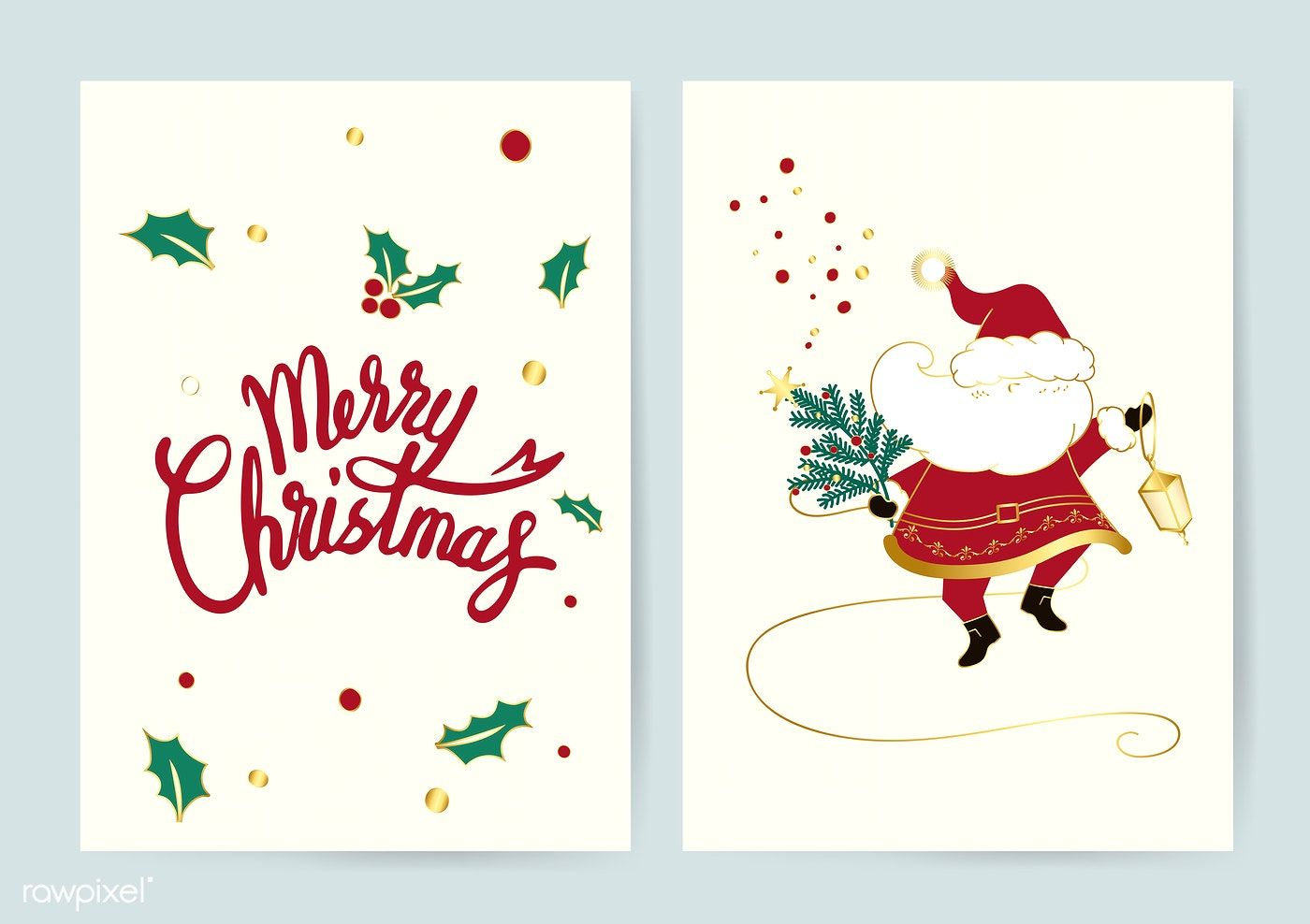 Santa And Merry Christmas Cards Vector Free Image By Rawpixel