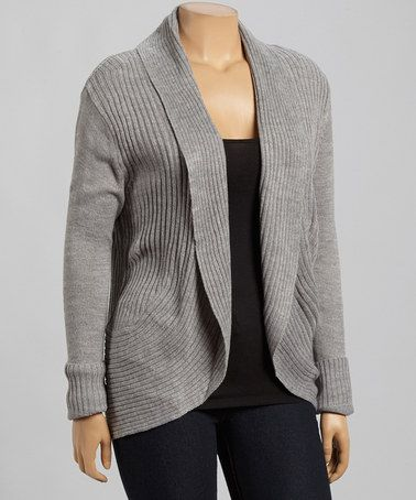 Another great find on #zulily! Heather Gray Ribbed Open Cardigan - Plus #zulilyfinds