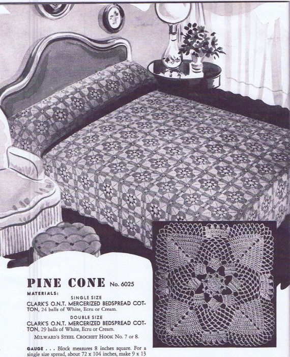 Pinecone motif / medallion 6025 for Vintage 1940s Crochet Bedspread ...