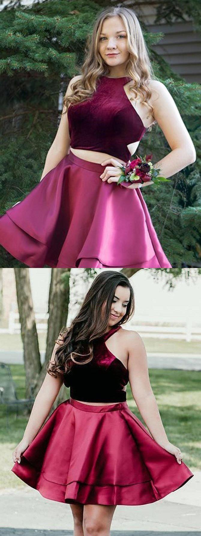 Two piece homecoming dress halter burgundy short prom dress cute