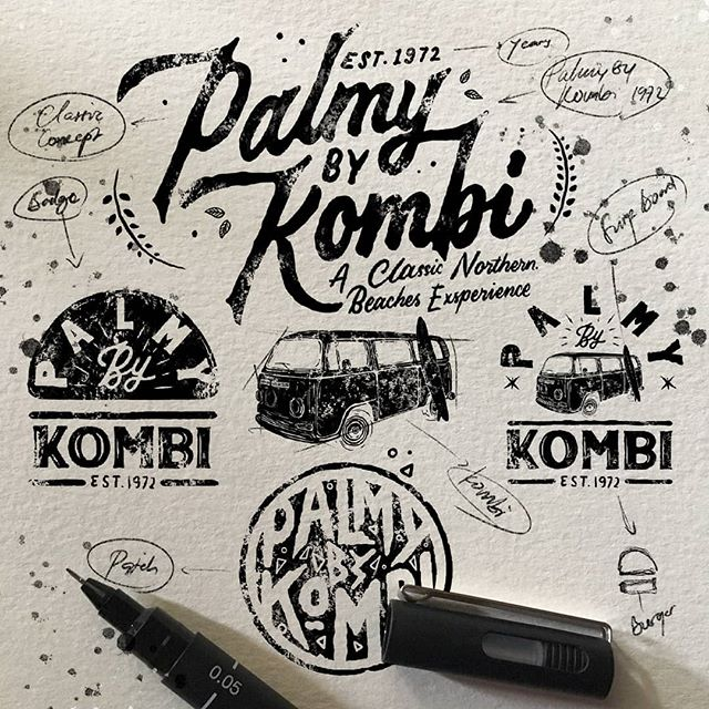 Cumi Di Instagram Sketch For Palmy By Kombi 1972 Artwork By Exsan For Commission Work Just Dm Me Hand Drawn Logo Hand Lettering Letter Art