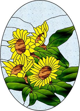 sunflower design glass