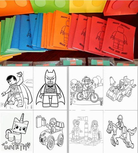 Invite And Delight Lego Birthday Party Coloring Book Diy Lego Crayon Party Favors Lego Party Favors Lego Themed Party Lego Birthday Party