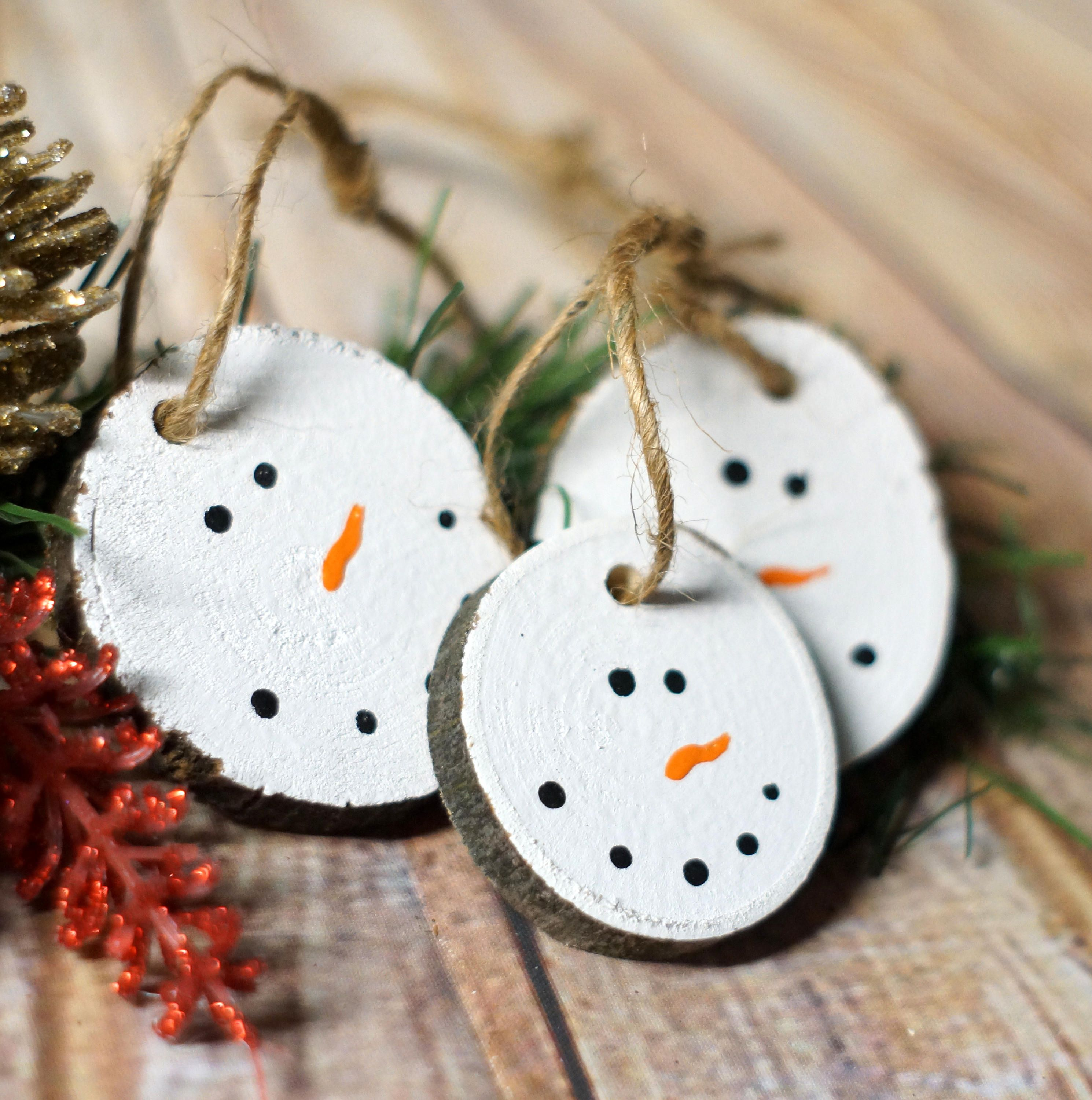 Snowman Ornaments Christmas Ornament Set Rustic Decor Xmas Wood Slice Log Painted