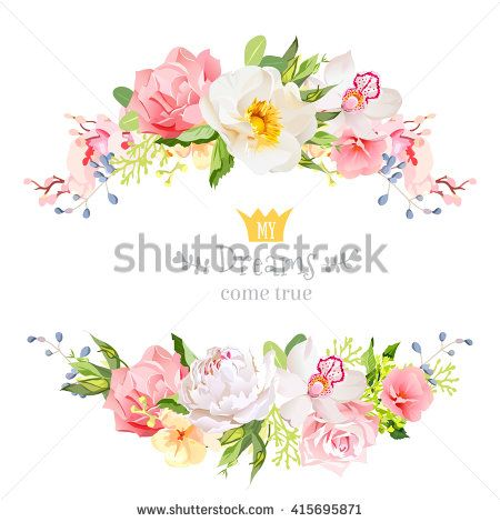 Lovely wishes floral vector design frame. Wild rose, peony, orchid ...
