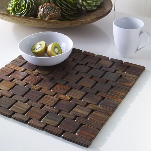 Creative Idea Modern Dining Table Set With Dark Brown Wood Tile Placemat Near Planter Centerpieces