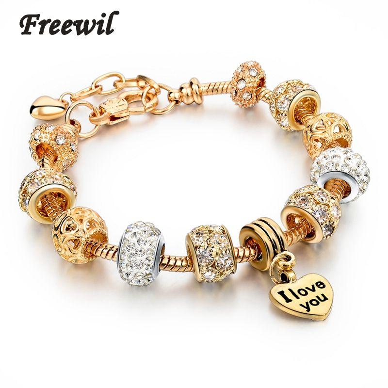 Hot Selling 2016 Heart Charm Bracelets & Bangles Gold Bracelets