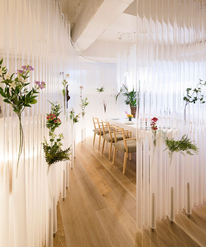 kengo kuma turns plastic tubes into ethereal restaurant decor