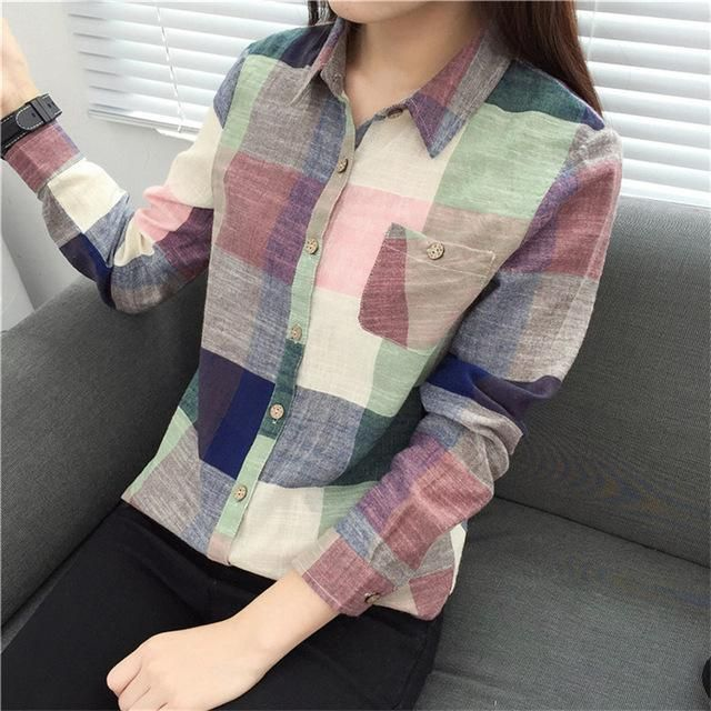 6bb2202d7669 Women Tops and Blouses Plaid Linen Long Sleeve