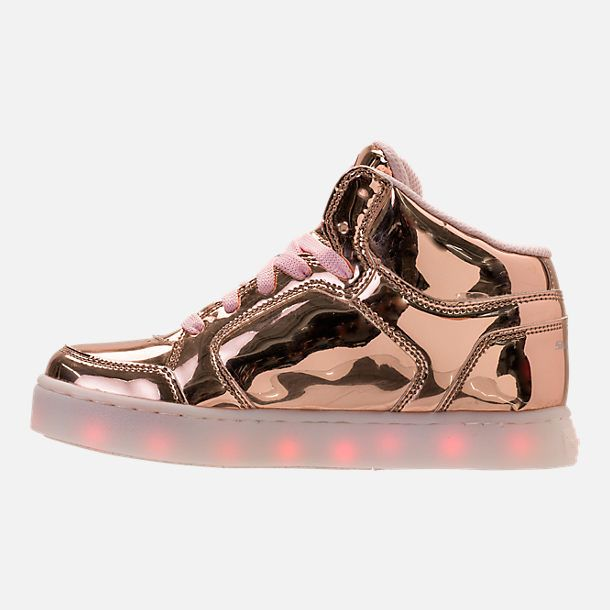 6fe862c3f9f Left view of Girls  Grade School Skechers S Lights  Energy Lights Light-Up  Casual Shoes in Rose Gold