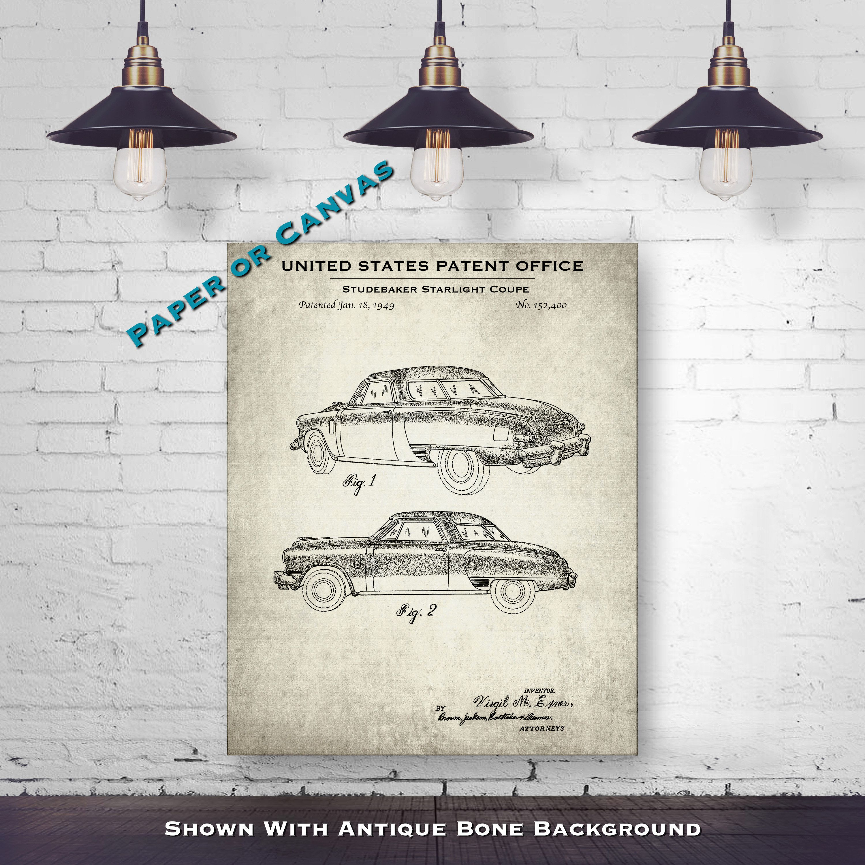 1947 Studebaker Starlight Coupe Automobile Patent Print