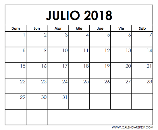 printable july 2018 spanish calendar