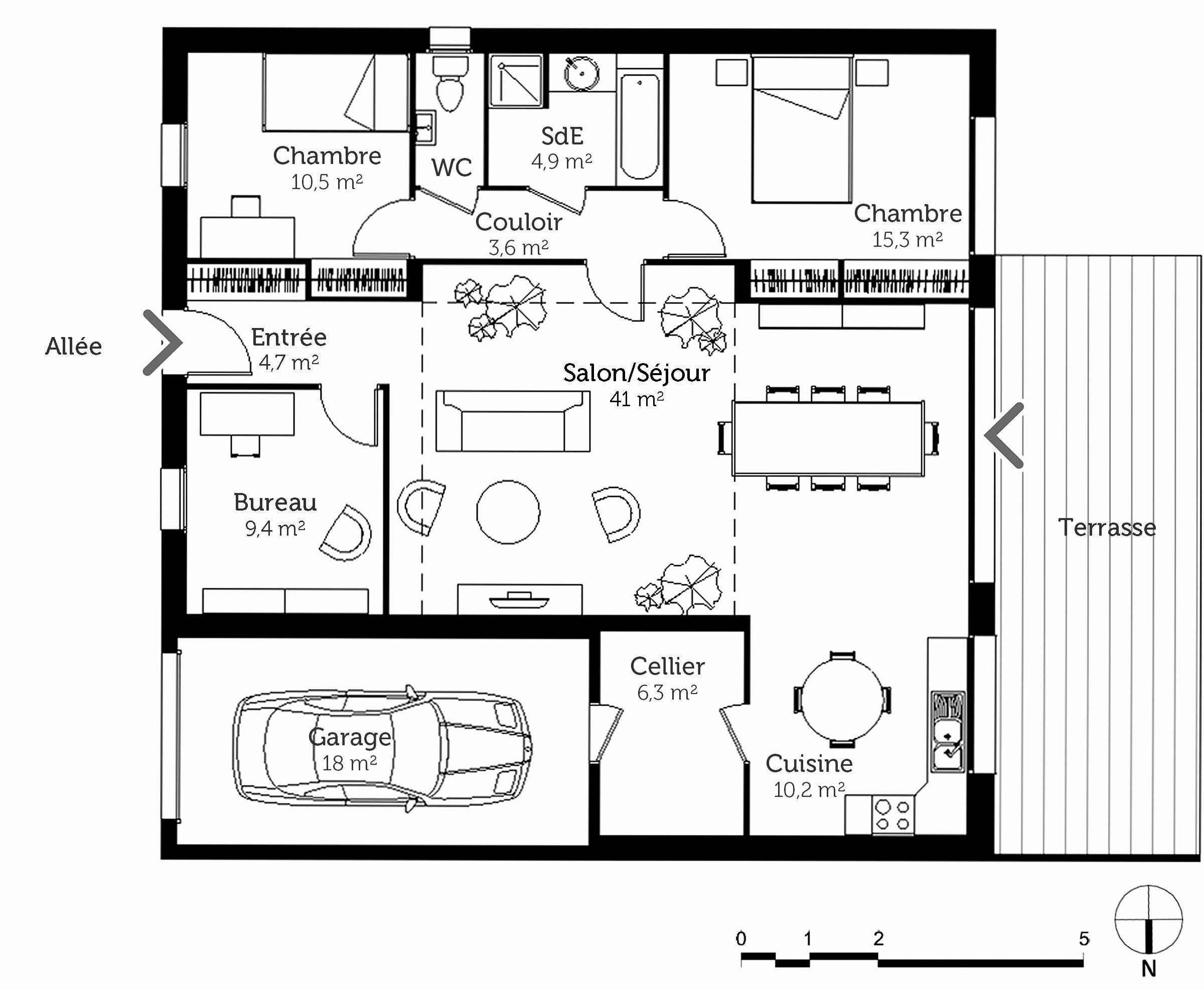 Lovely Plan Maison Plain Pied 4 Chambres 100m2 | Plan maison, Plan maison plain pied