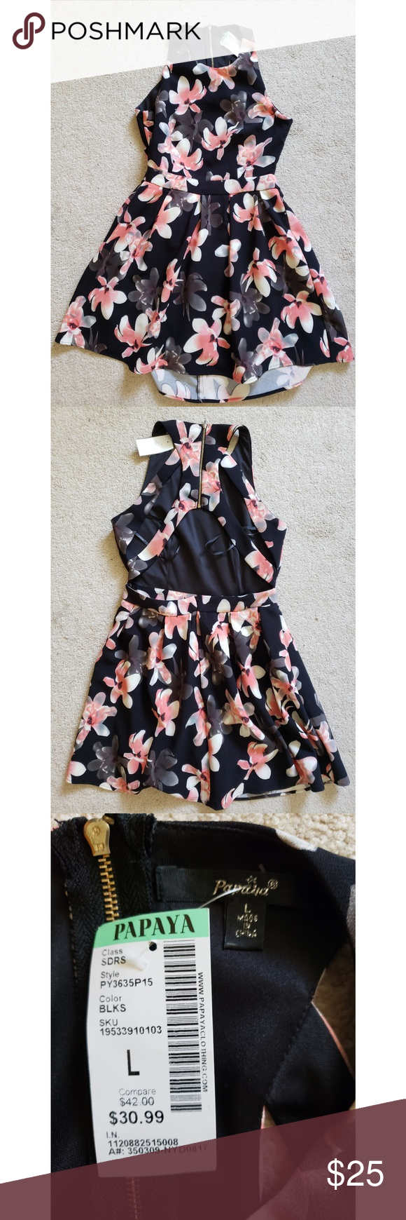 Women's Cocktail Dress Women's Larfe Black Floral Open Back Cocktail Dress NWT Papaya Dresses Backless #backlesscocktaildress