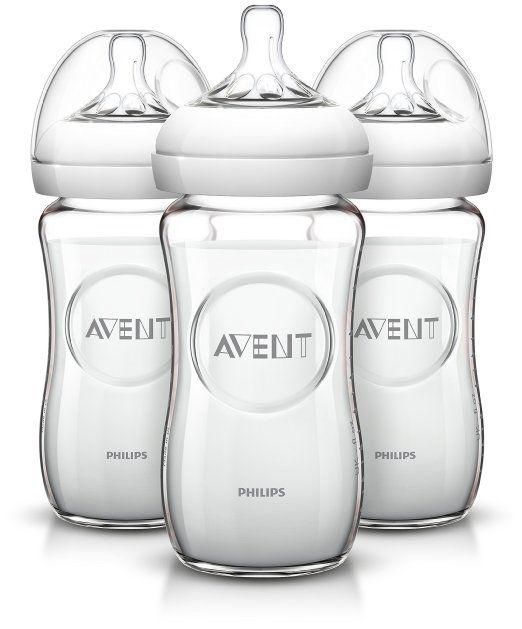Kit com 3 Mamadeiras Philips Avent com Bico de Fluxo Natural, Sistema Anti-cólica e BPA Livre - 236 ml Branca
