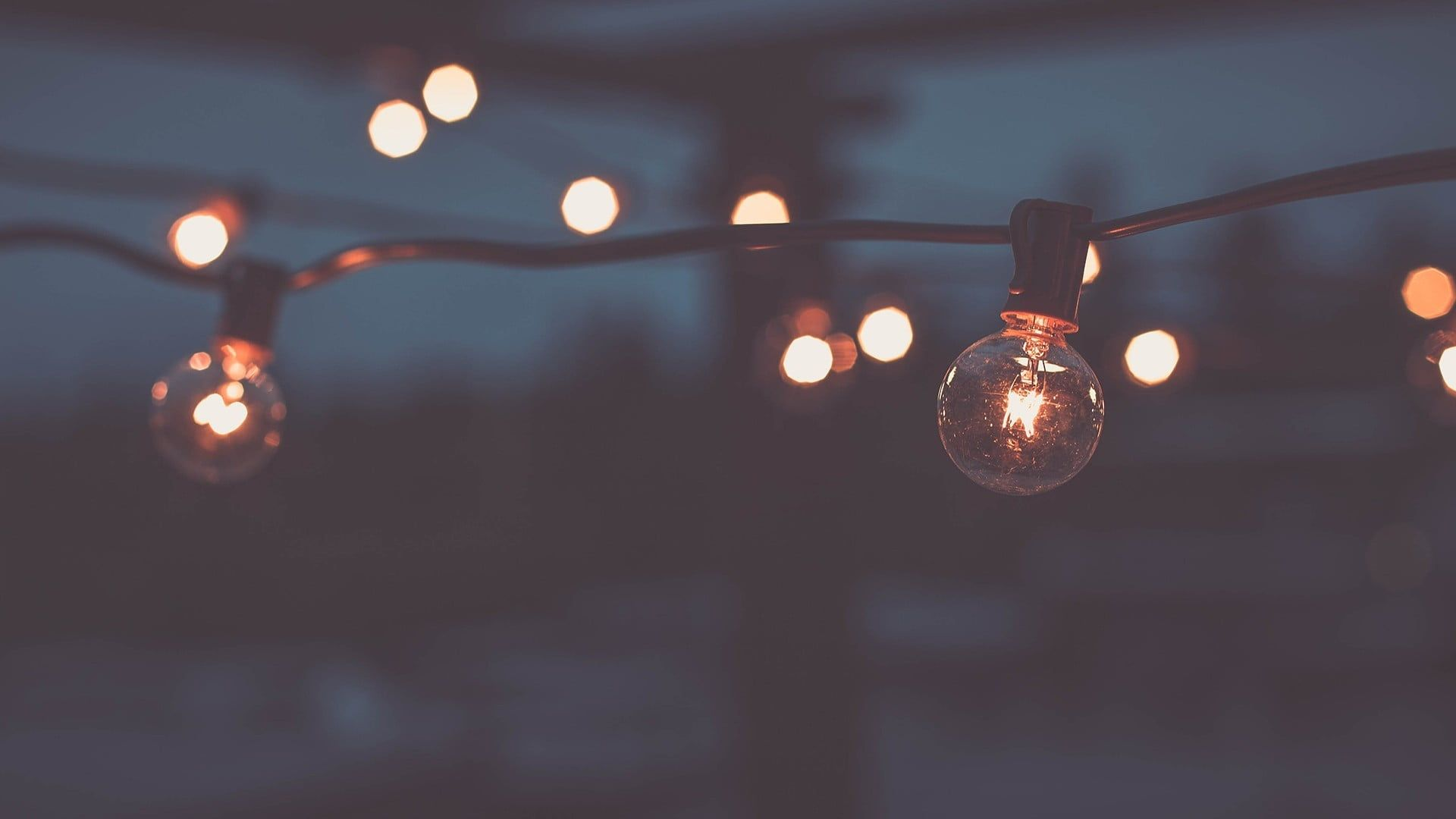 HD wallpaper: clear bulb string lights, shallow focus photography of string bulb lights during night time